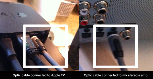 Optic cable connecting Apple TV to stereo amp