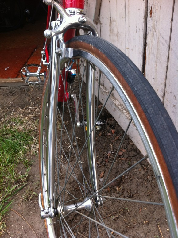 Front chrome forks on vintage Bianchi