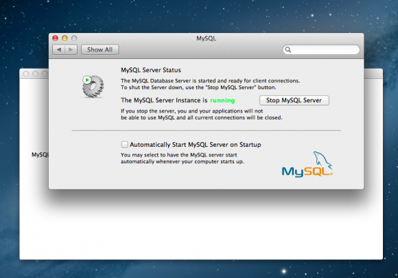 MySQL Start screen