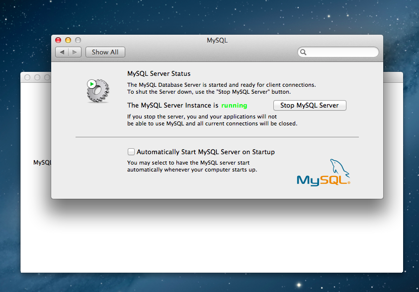 apple mac MySQL Start screen