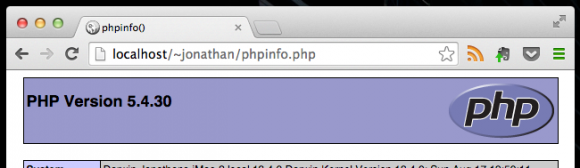 phpInfo(); screenshot