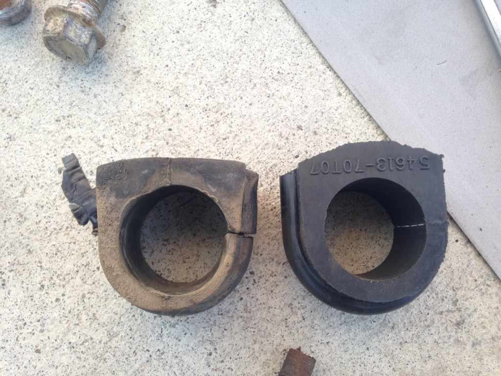 worn sway bar bushing compared to new bushing