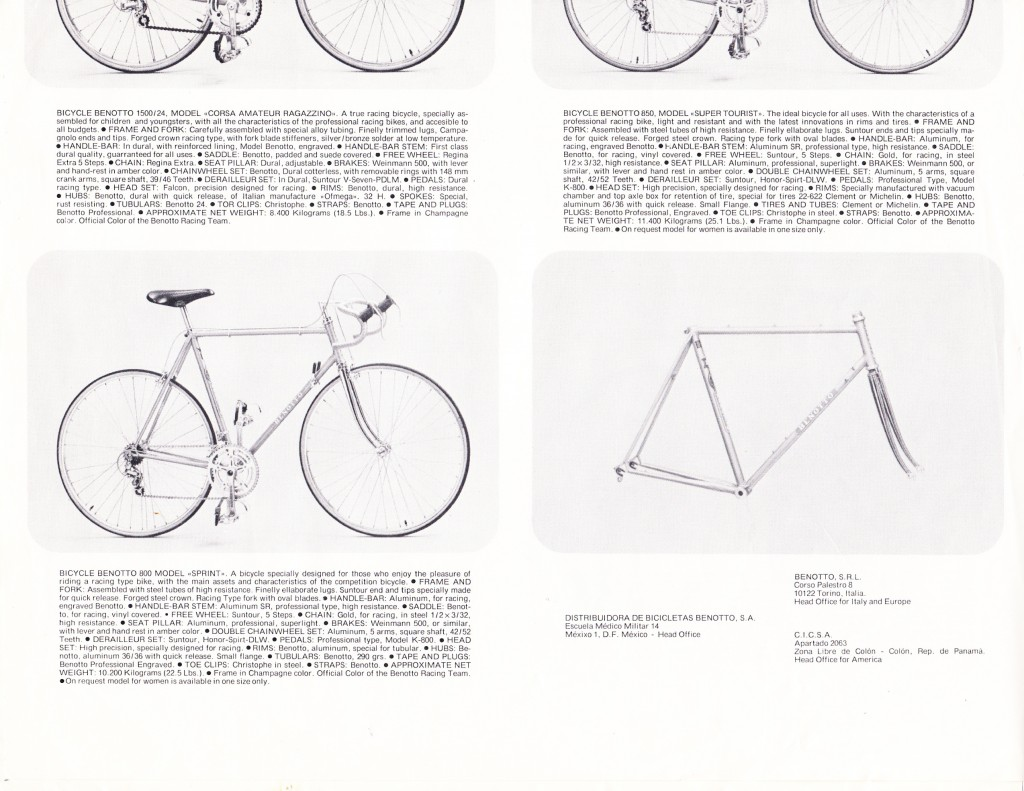 Benotto Catalogue 1979 page 4 of 12